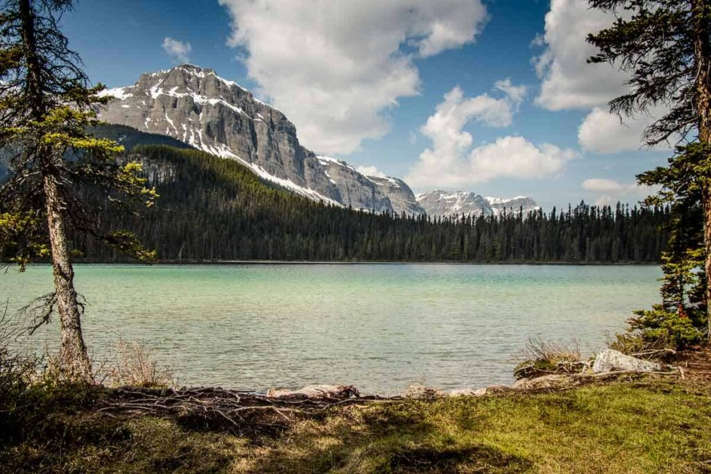 View of Watridge lake in Kananaskis - its an easy hike in Kananaskis to this lake