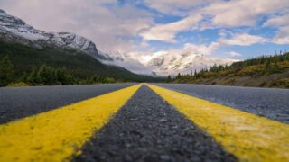 A road leads to Banff National Park