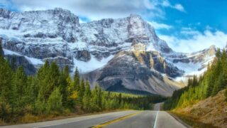 A beautiful mountain road in Banff National Park
