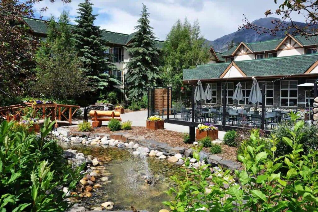 Tranquil gardens at the Canmore Coast Hotel