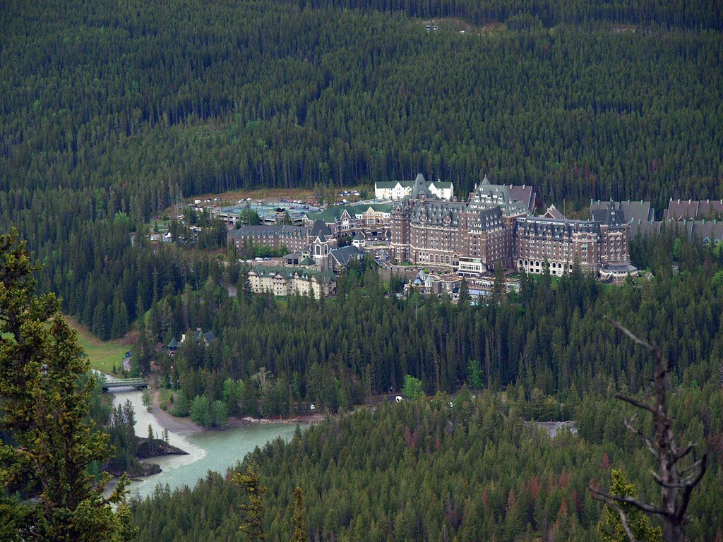 The Banff Springs Hotel as seen from the Tunnel Mountain Hike