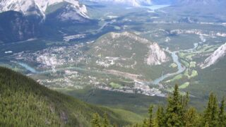 An arial view of Tunnel Mountain in Banff National Park