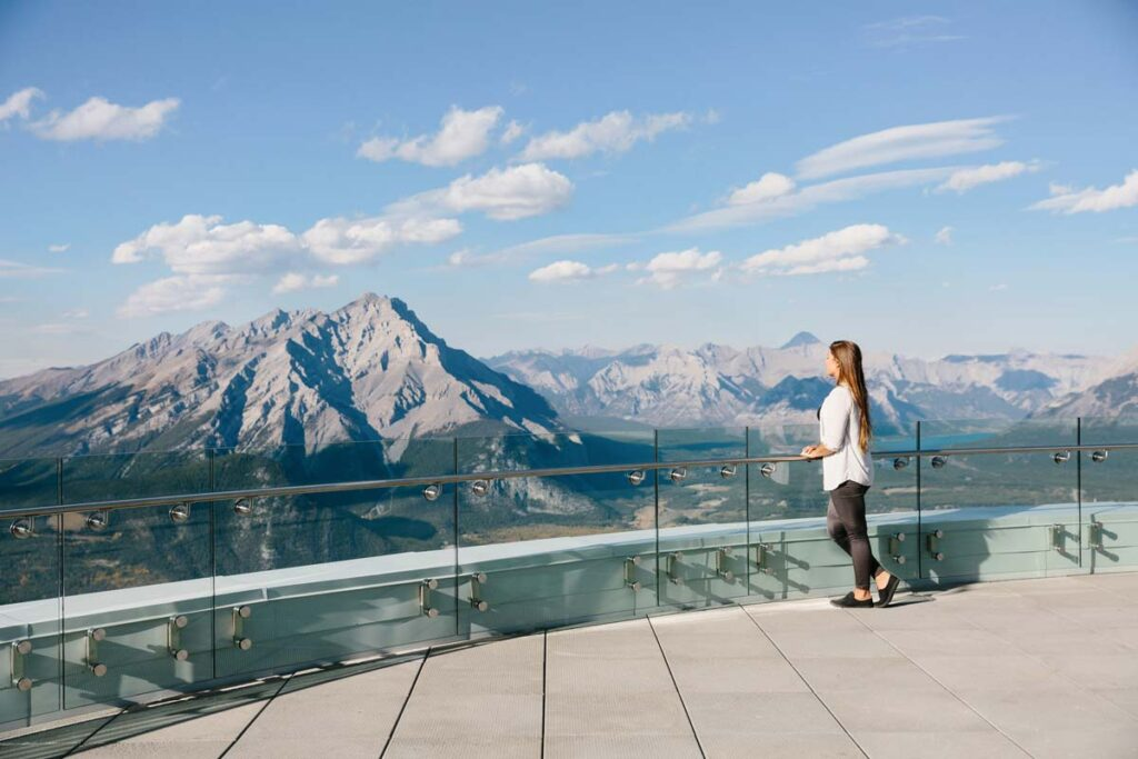 Amazing views from the lookout deck atop the Banff Gondola. The walk along the top is one of the most scenic easy hikes in Banff