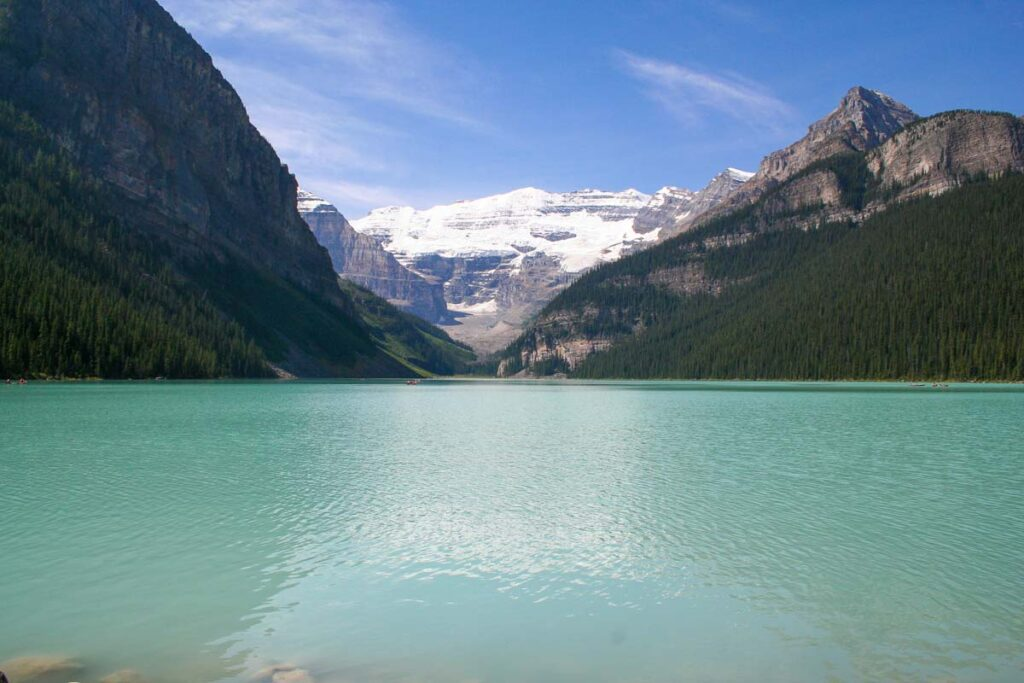 The view of Lake Louise standing in front ofthe Chateau Lake Louise