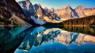 mountain reflections on Moraine Lake, Banff National Park
