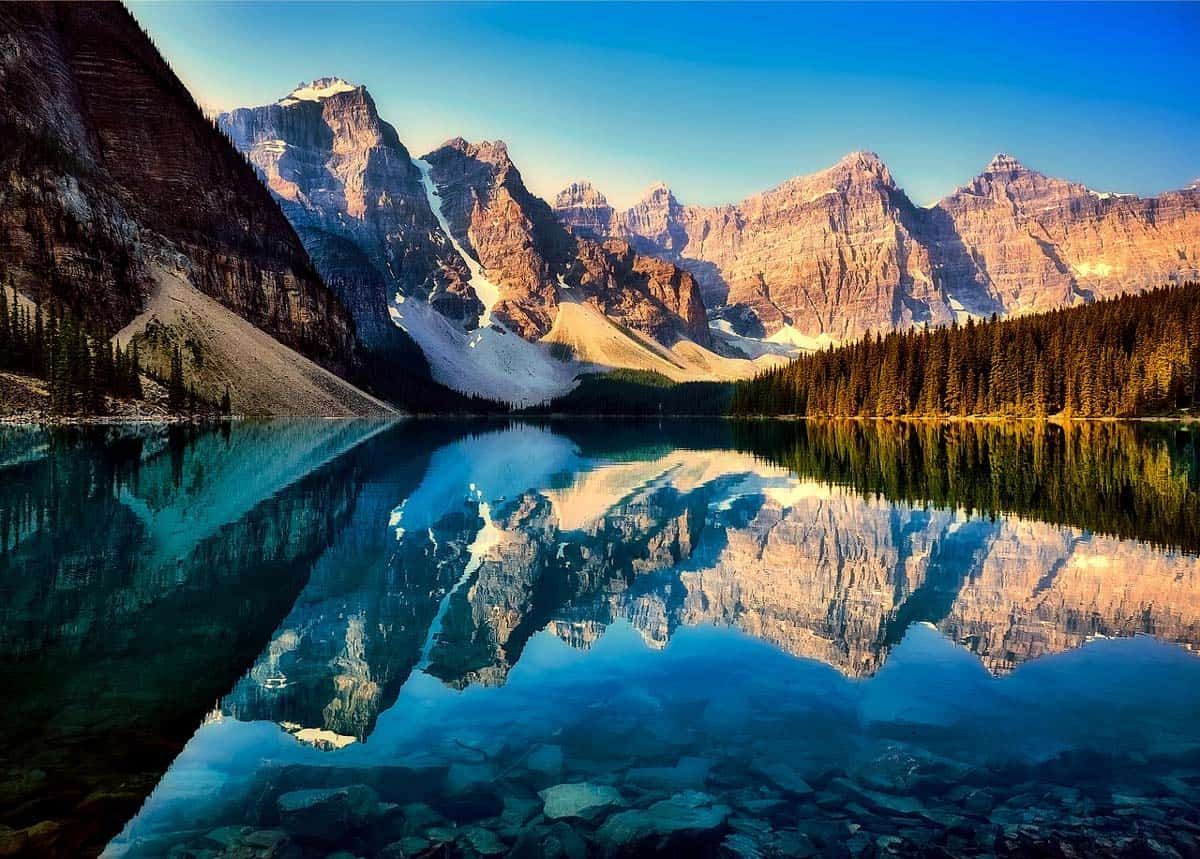 mountain reflections on Moraine Lake, Banff National Park