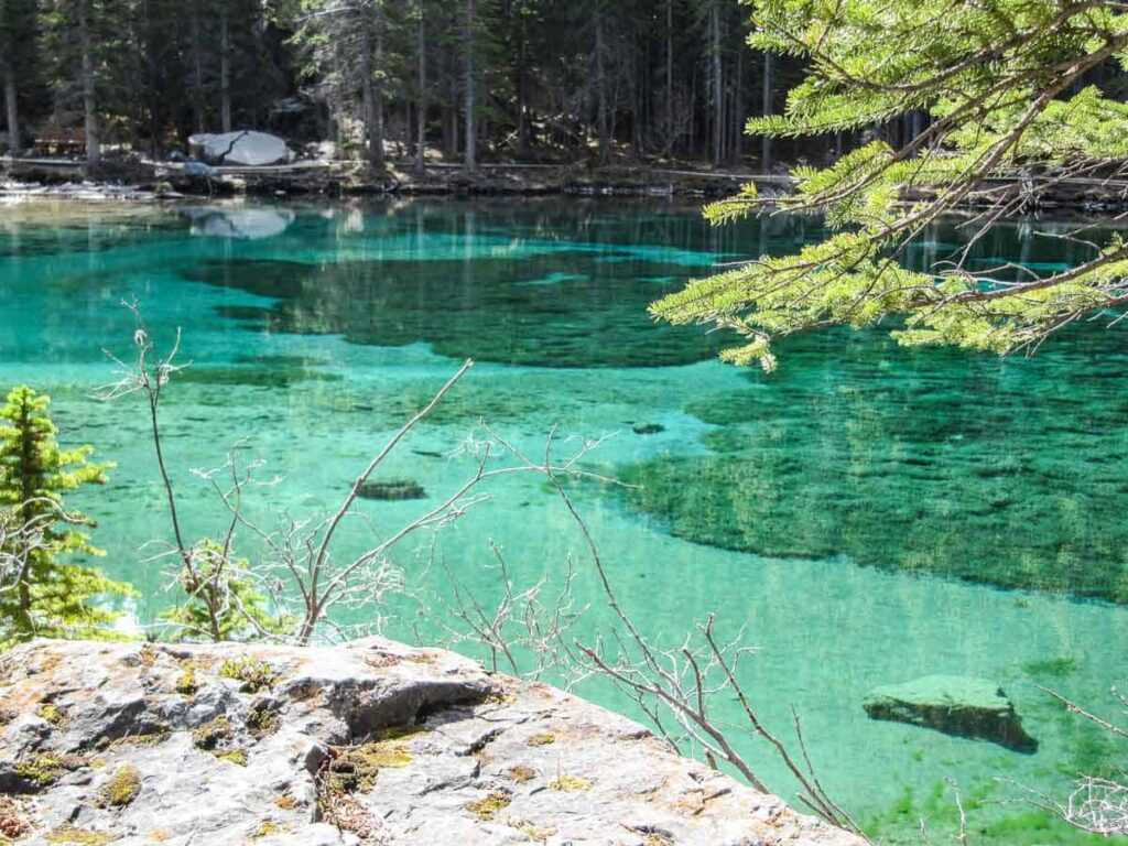 You won't believe the water color of the Grassi Lakes near Banff