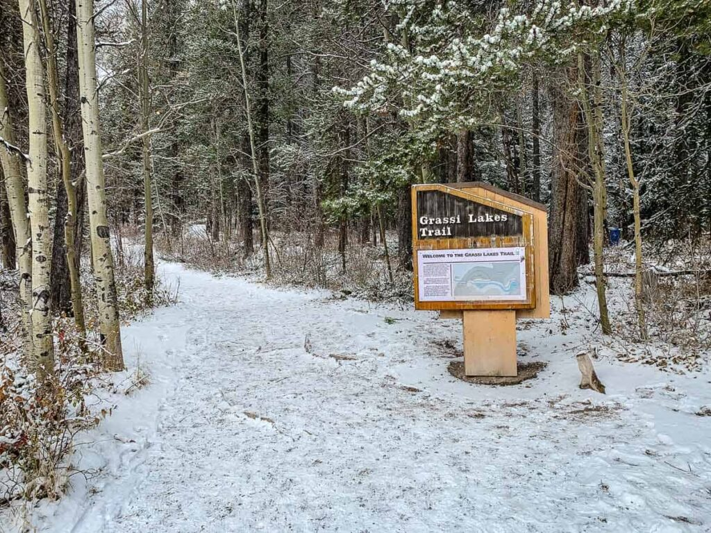 An interpretive welcome sign for the Grassi Lakes Trail