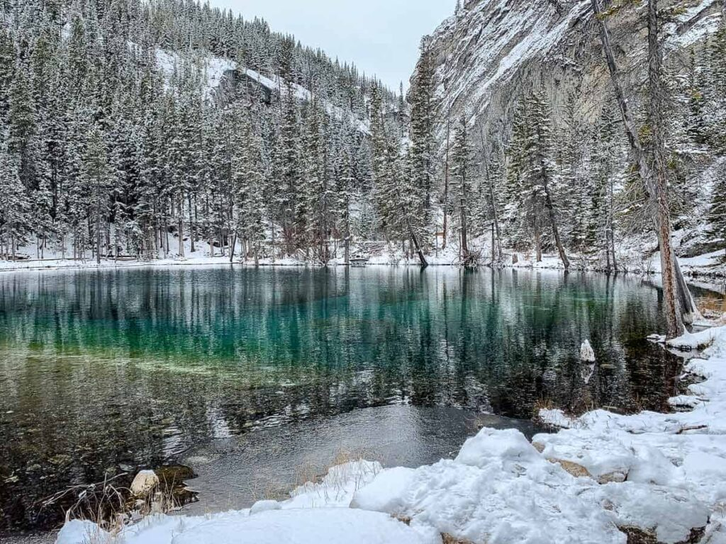 Grassi Lakes are a winter wonderland