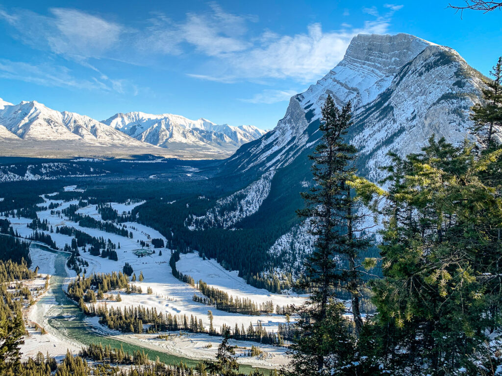 Winter scenery in Banff National Park - the view of Rundle Mountain and Banff Springs Golf Course from Tunnel Mountain