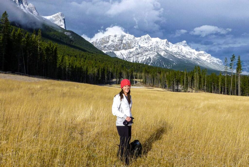 Warm clothing in fall are hiking essentials around Banff and Canmore