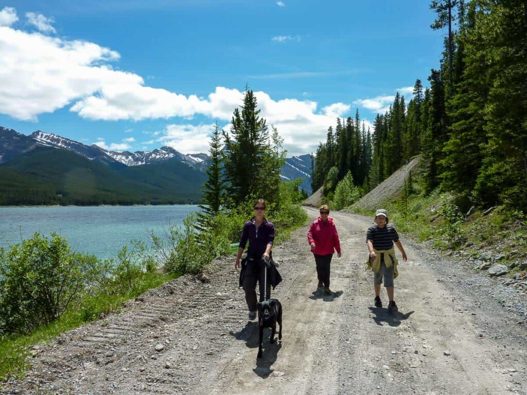 The wide gravel road along the Spray Lakes West Campground road makes it ideal for social distancing