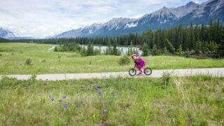The Canmore bike trail system has tons of great trails for kids - our kids love this stretch by the stinky river!