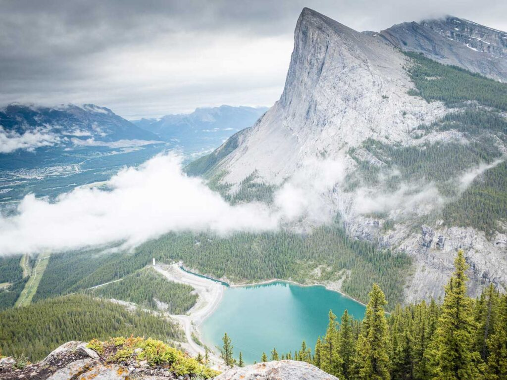 Views of Ha Ling Peak, Whiteman's Pond and Canmore from the EEOR hike near Canmore, Alberta