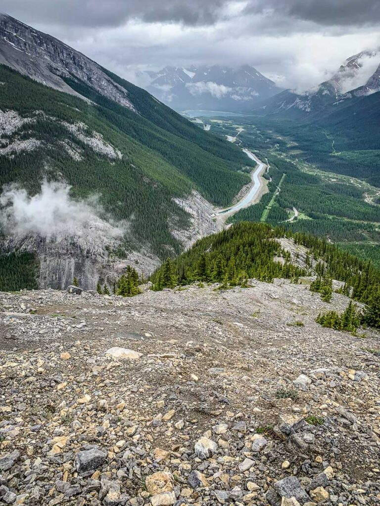 A view of the Smith-Dorrien Highway in the Spray Valley Provincial Park - as seen from the East End of Rundle hike