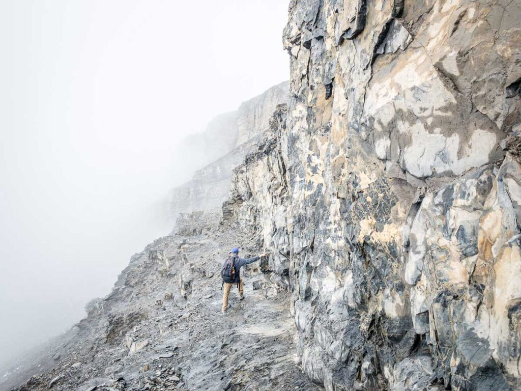 There are some challenging rock scrambles near the summit on the East End of Rundle hike