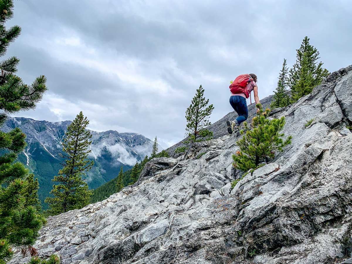 The EORR hike near Canmore involves a lot of scrambles