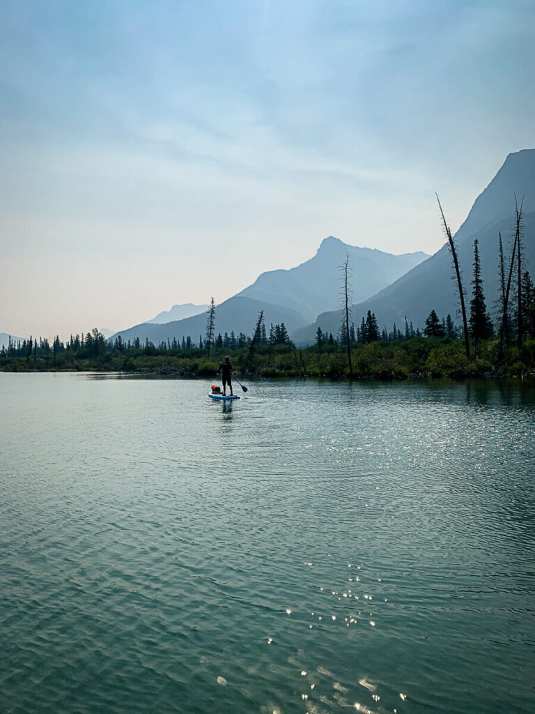 Paddle Boarding near Canmore on Gap Lake