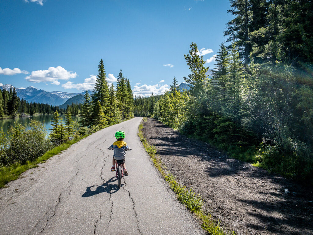 The paved Sundance Canyon biking trail in Banff National Park is great thing to do with kids in Banff