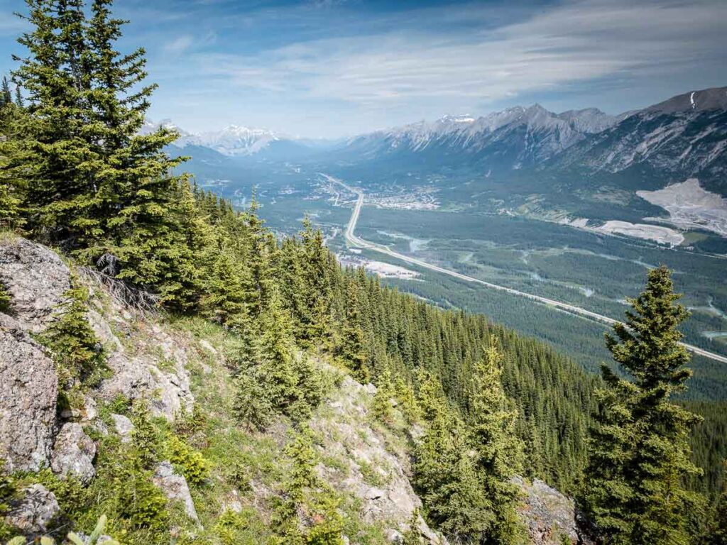 Enjoy views of Cascade Mountain, Canmore, Mt. Lady McDonald and the Bow River from the Wind Ridge Trail in Kananaskis