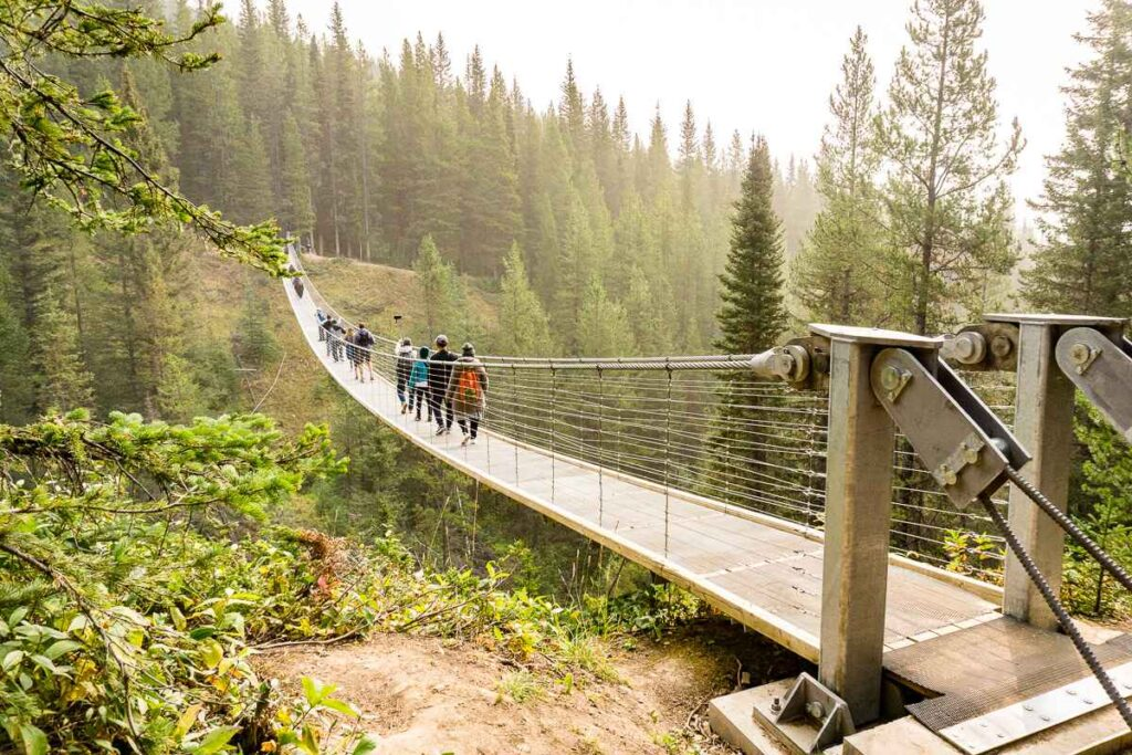 The Black Shale Suspension Bridge in Kananaskis Country is a popular group hike