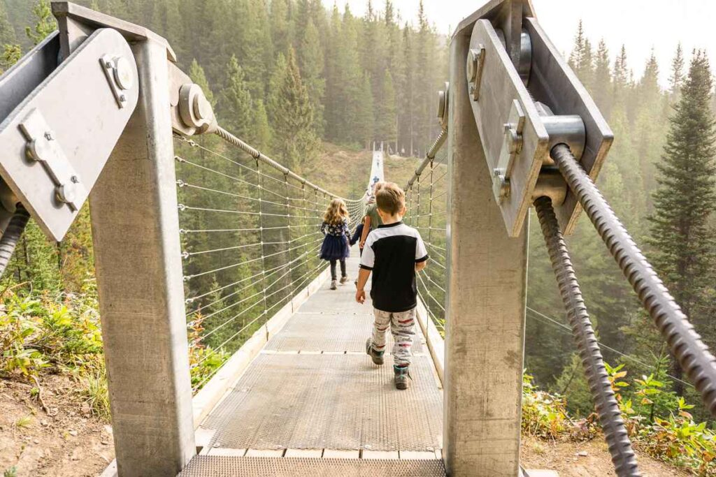 The suspension bridge is a great kid-friendly thing to do in Kananaskis