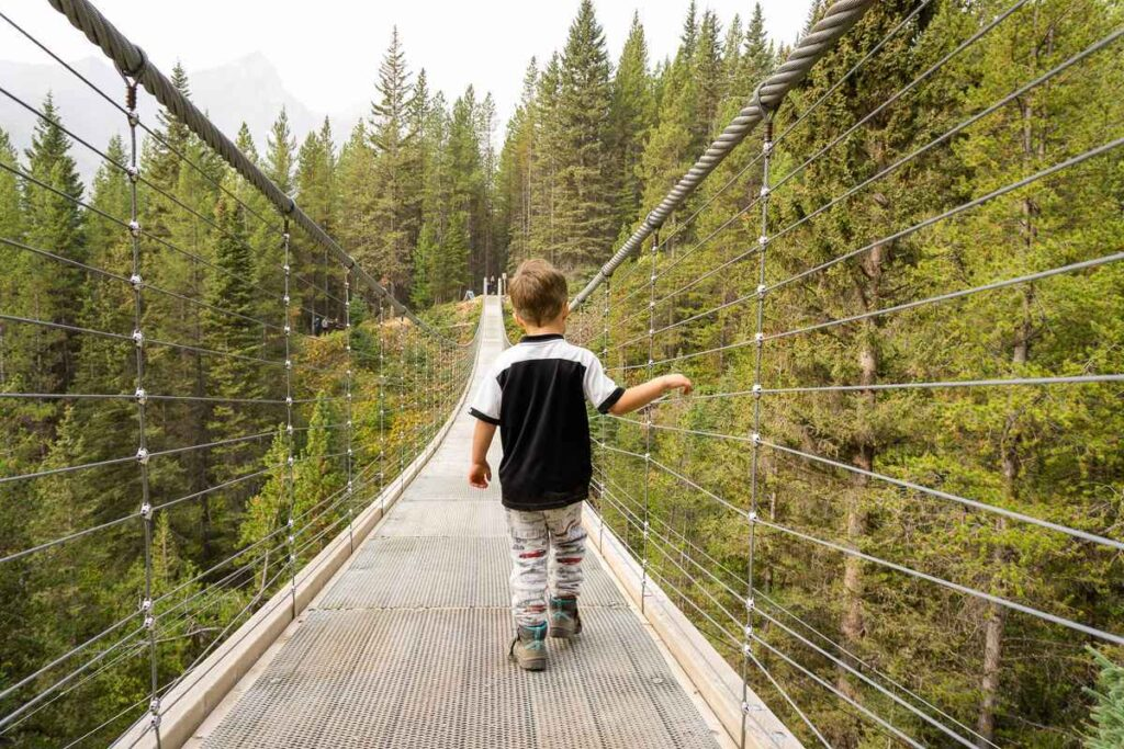 looking for something fun to do with kids in Kananaskis? Try the Blackshale Suspension Bridge