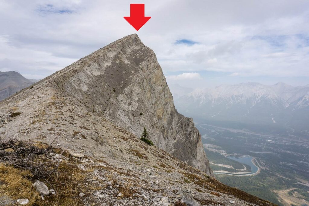 The drop from the Ha Ling Peak summit would be fatal