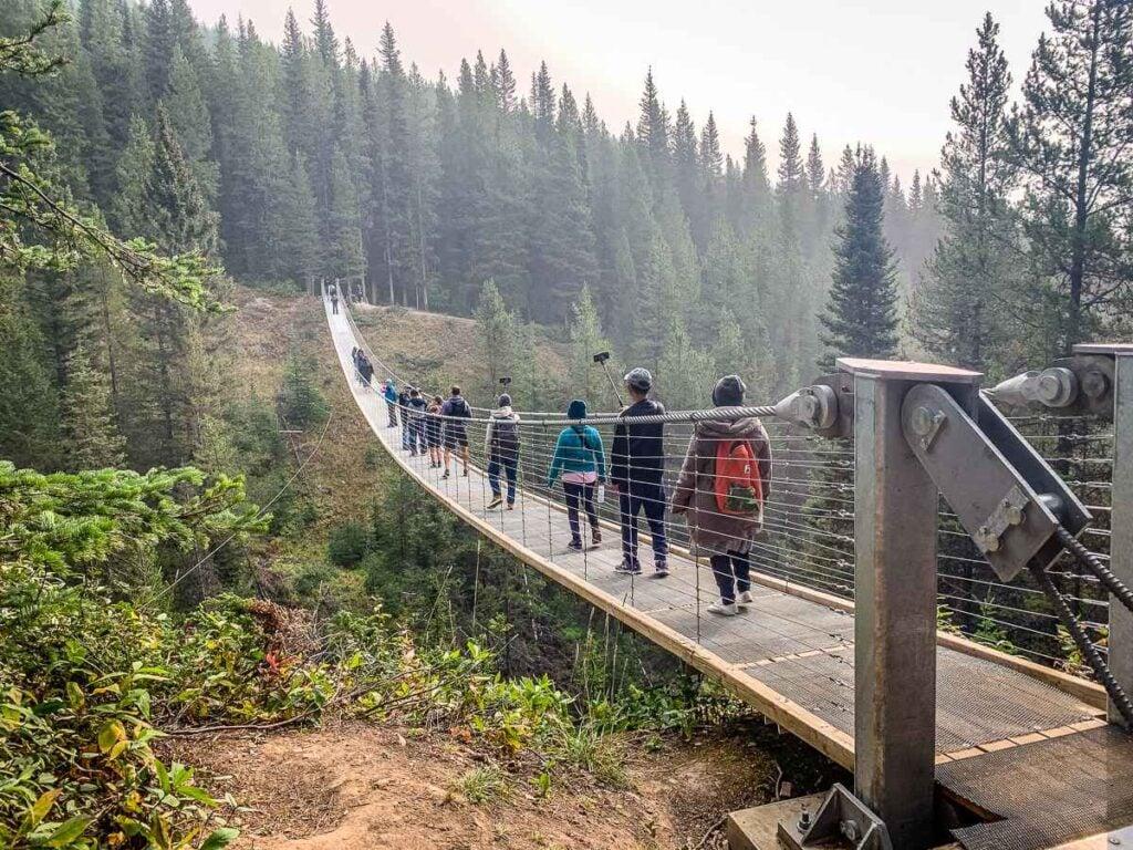 The suspension bridge near Calgary is found in Kananaskis Country