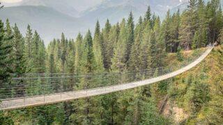 The Blackshale Suspension Bridge in Kananaskis Country is a popular kid-friendly hike