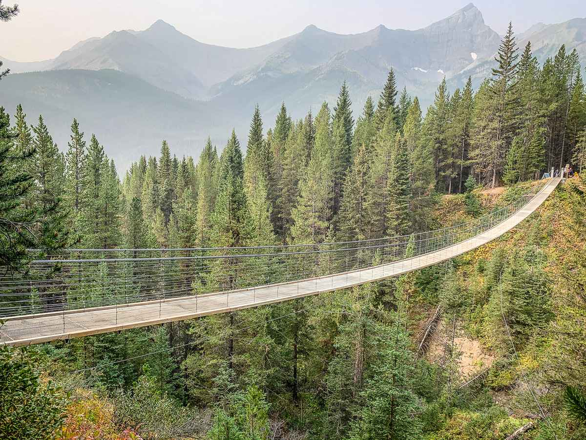 The Blackshale Suspension Bridge in Kananaskis Country is a popular kid-friendly hike