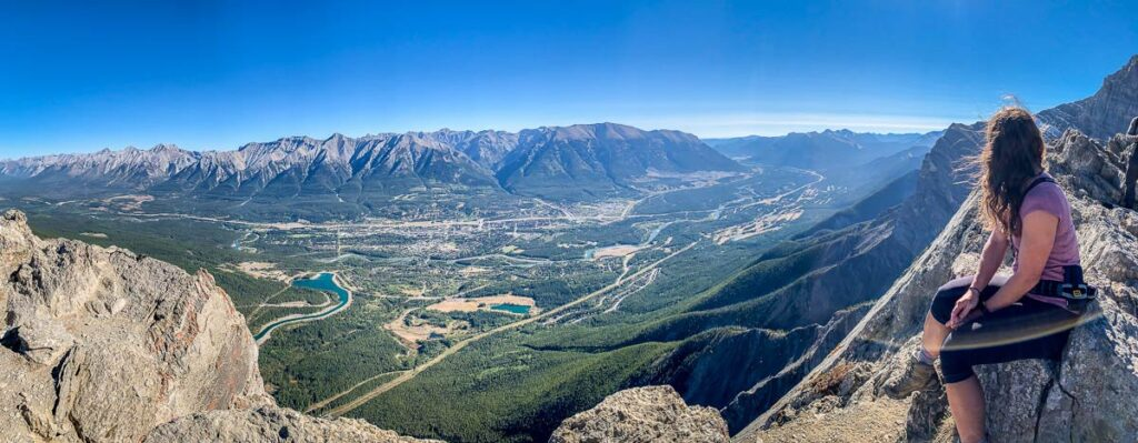 enjoy panoramic views of Canmore and the Bow Valley from the top of Ha Ling mountain