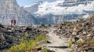 The plain of six glaciers trail offers a chance to see some lake louise glaciers up close