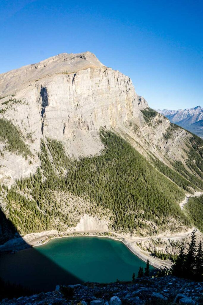 a view of whitemans pond, canmore from Ha Ling mountain