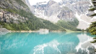 paddle boarding Moraine Lake in Banff National Park