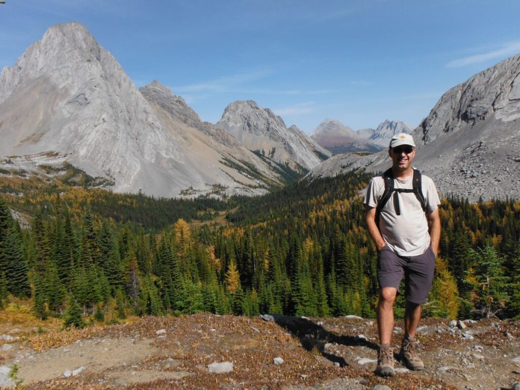 Dress in layers when hiking among Alberta larch trees