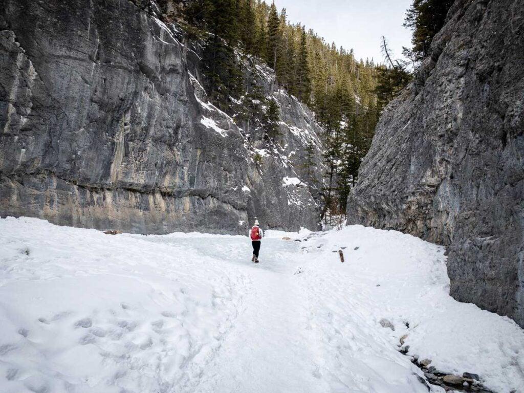 Grotto Canyon ice walk - winter hiking kananaskis