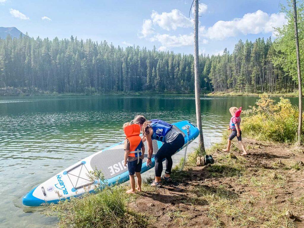 paddle boarding in banff on Herbert Lake