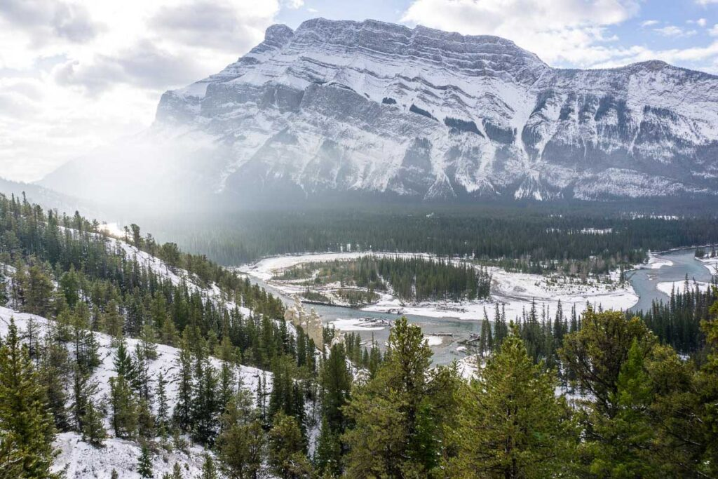 View of valley from hoodoo viewpoint - hiking banff winter