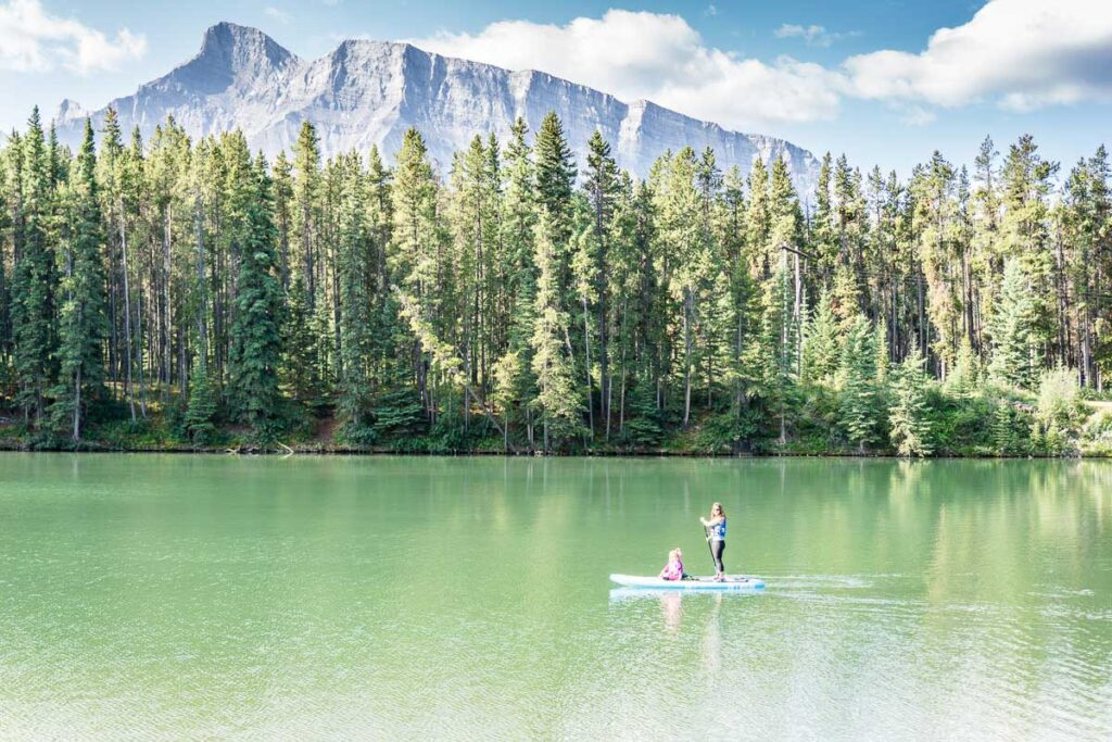 calm lakes in Banff for paddle boarding - Johnson Lake