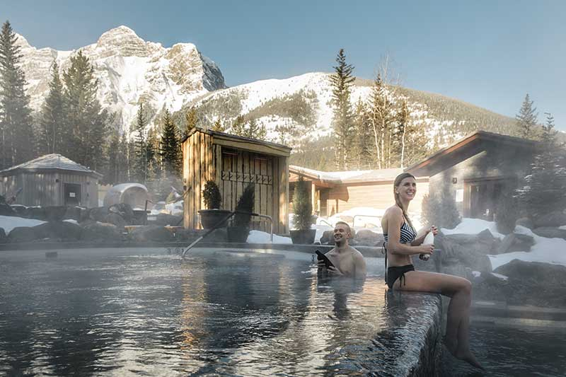 The Kananaskis Nordic Spa is a great way to relax after a day of hiking to larch trees