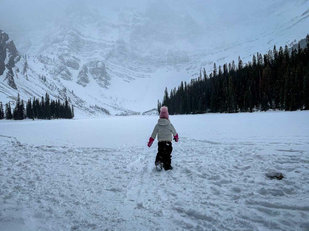 Rawson Lake snow covered - kananaskis winter hiking