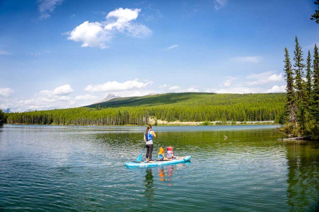 paddle boarding on Herbert Lake in Banff