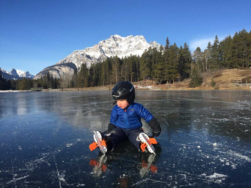 winter activities in banff - skating on Johnson Lake