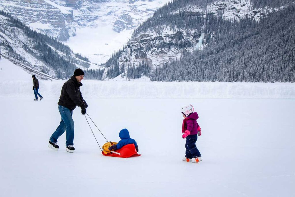 banff winter activities - Ice Skating on Lake Louise