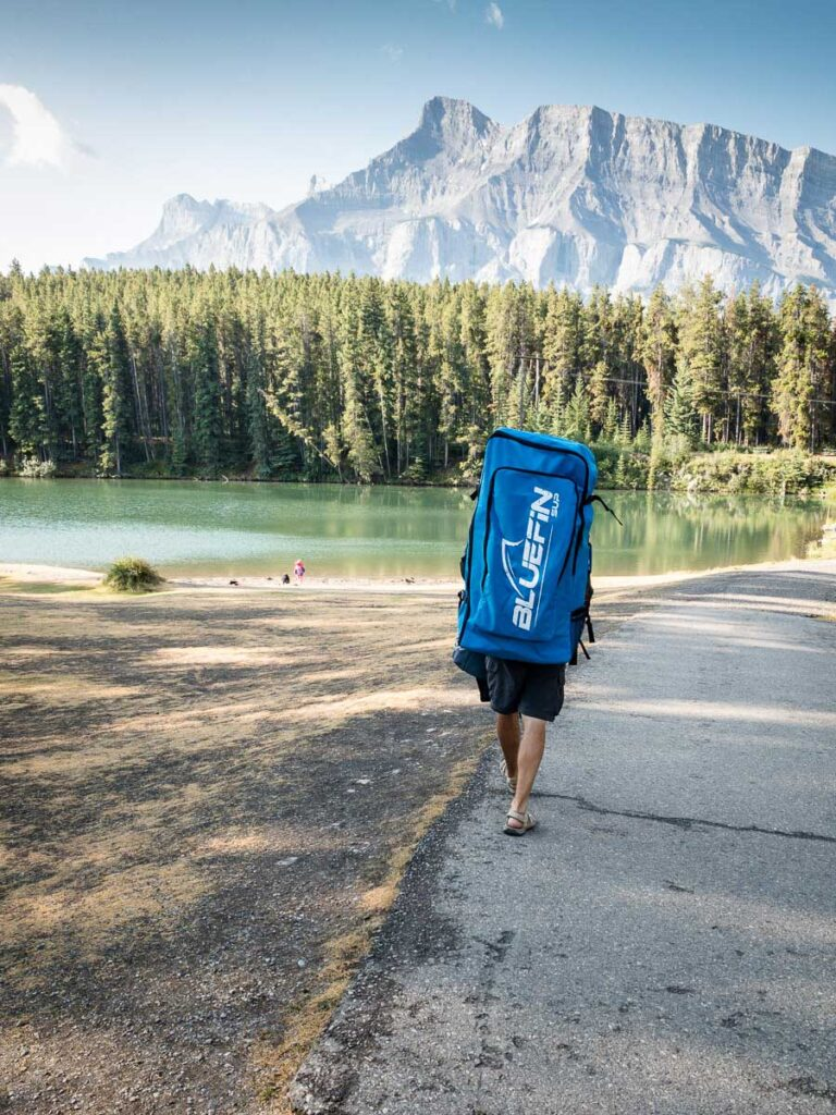 using an inflatable stand up paddle board in Banff