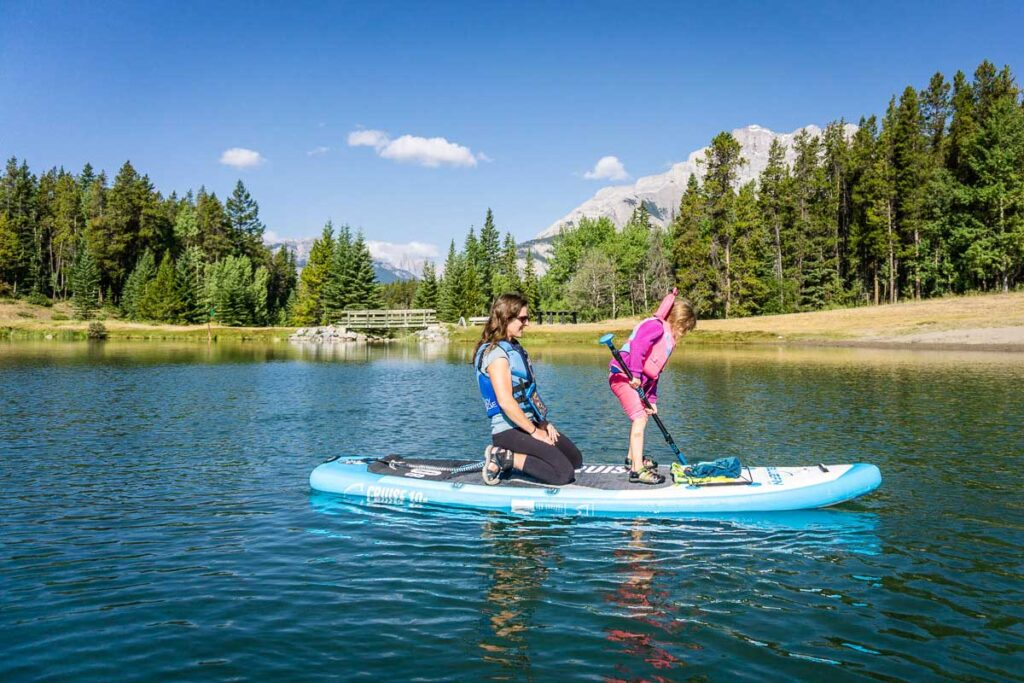 paddle boarding on Johnson Lake with kids