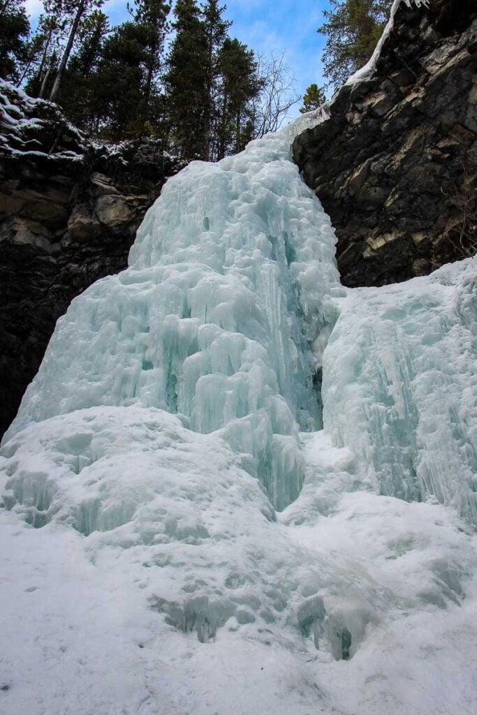Frozen waterfall at Troll Falls - Kananaskis winter hiking