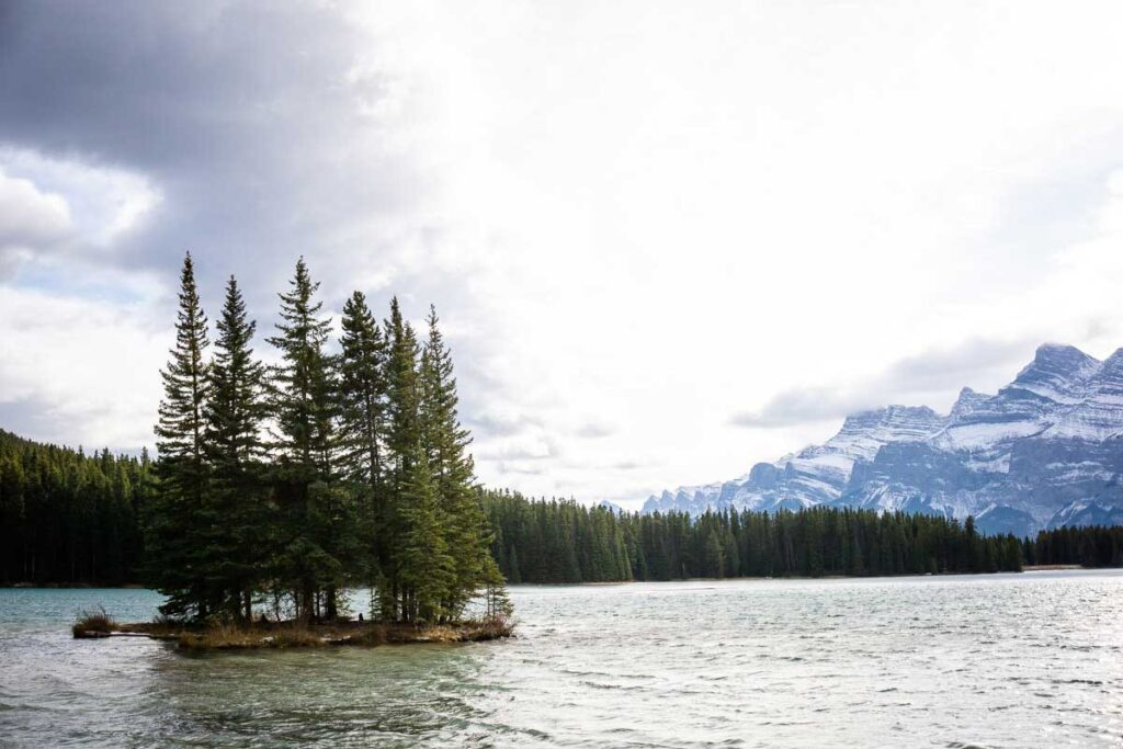 Walking along Two Jack Lake - winter things to do in banff