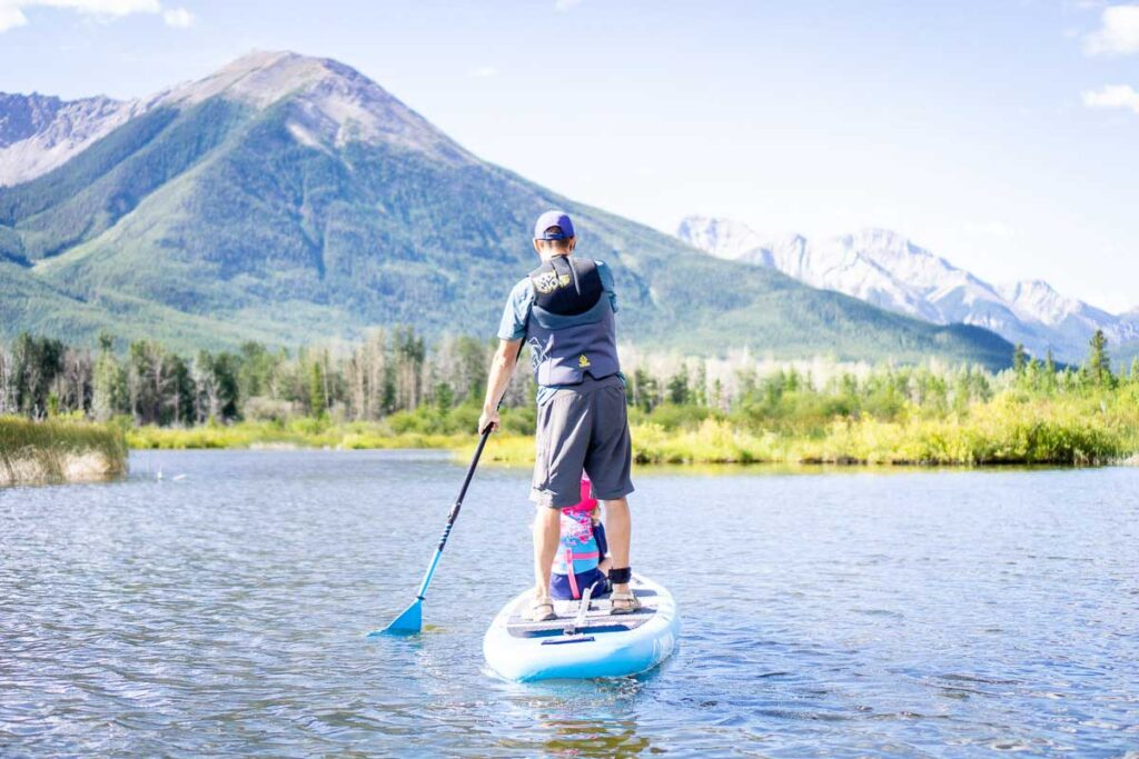 paddle boarding Vermilion Lakes in Banff National Park